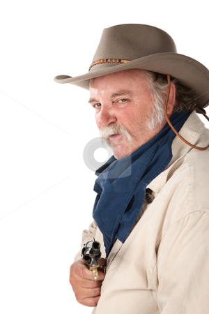 Sneaky Cowboy stock photo, Big tough cowboy with pistol on white background by Scott Griessel