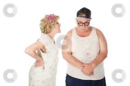 Nasty wife stock photo, Bickering wife yelling at a shamed husband by Scott Griessel
