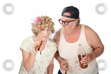 Strange Folk stock photo, Suspicious couple with cigars and a 40 oz beer by Scott Griessel