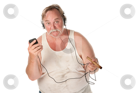 Sloppy Fellow stock photo, Sloppy looking man with cigar and mp3 player by Scott Griessel