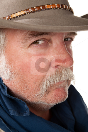 Tough guy stock photo, Big tough cowboy with moustache closeup shot by Scott Griessel