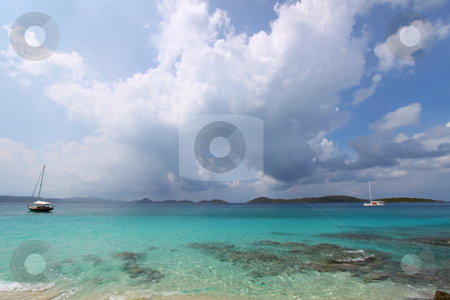 Honeymoon Bay - US Virgin Islands stock photo, Clouds roll in over Honeymoon Bay in the US Virgin Islands. by Jason Ross