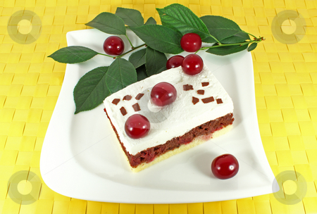 Homemade Cake With Sour Cherries Stock Sweet