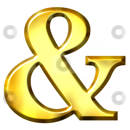 3D Golden Ampersand stock photo, 3d golden ampersand isolated in white by Georgios Kollidas
