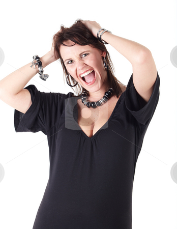 Caucasian Adult woman stock photo, Cute young adult caucasian woman wearing a black outfit and a beaded necklace with black boots and brunette hair standing frustrated with her hands in her hair on a white background. Not Isolated by Sean Nel