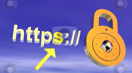 Internet secure address stock photo, Internet secure address with padlock by Elenaphotos21