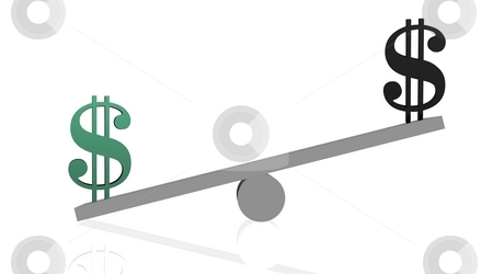 Power of ecology money stock photo, Balance with green dollar heavier than black one in white background by Elenaphotos21