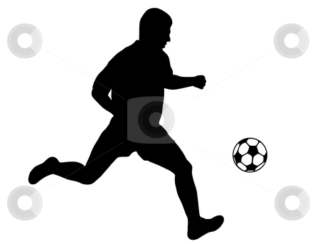 Soccer player silhouette stock vector clipart, Soccer player isolated on white by Ioana Martalogu