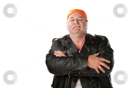 Confidence Man stock photo, Confident biker gang member with leather jacket by Scott Griessel