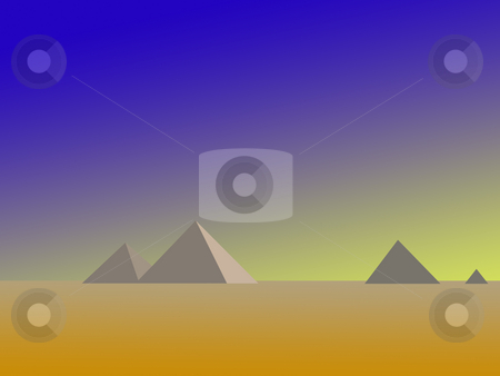 Pyramids of Giza Stylized stock photo, Pyramids of Giza stylized in single colours and tones with graduated foreground and sky by HUNTER