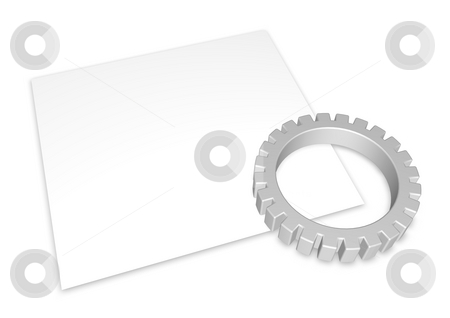 Gear stock photo, Gear wheel and blank white page on white background - 3d illustration by J?