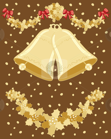 Christmas bells stock vector clipart, A hand drawn illustration of two christmas bells ringing with holly and ribbons on a snowy gold background by Mike Smith