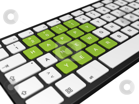 New year 2011 computer keyboard stock photo, New year 2011 message on a computer keyboard, 3d illustration isolated on white by Laurent Davoust