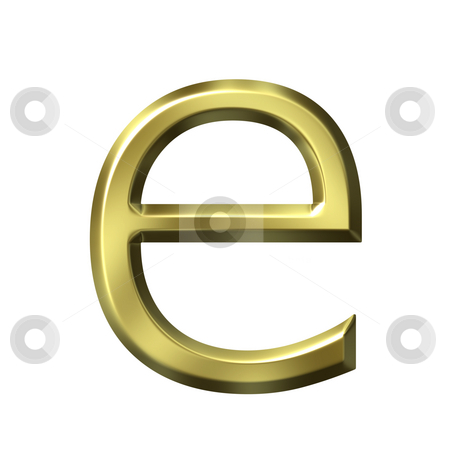 3d golden letter e stock photo, 3d golden letter e isolated in white by Georgios Kollidas