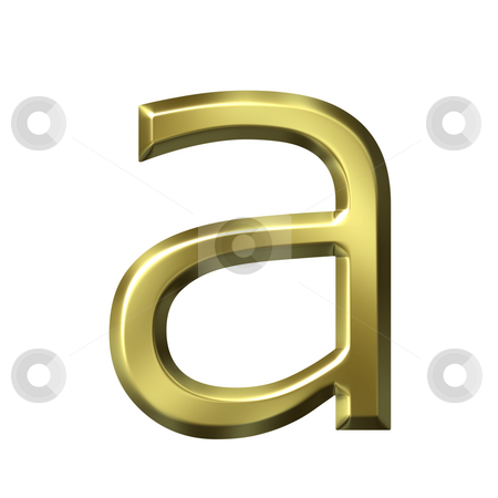 3d golden letter a stock photo, 3d golden letter a isolated in white by Georgios Kollidas