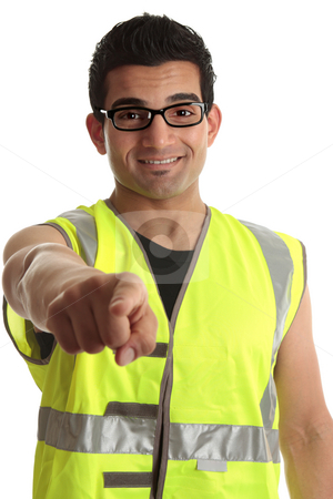 Builder construction worker pointing at you stock photo a smiling