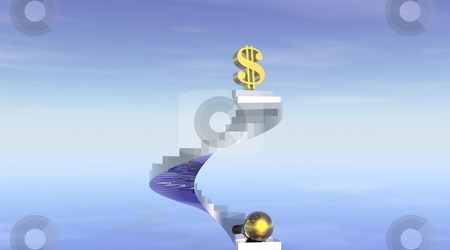 Stairs to wealth and fortune stock photo, One gold dollar at the top of stairs and one gold ball starting to climb to reach it by Elenarts