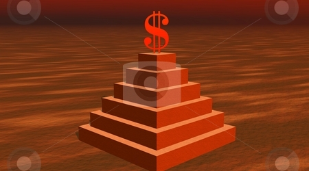 Power of money stock photo, Red dollar on a pyramid in desert by Elenaphotos21