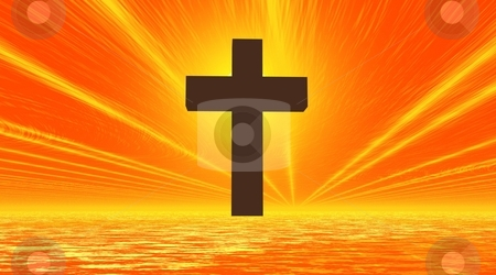 Black cross enlightened stock photo, Big black cross in orange background sky and sea with yellow sunrays by Elenarts