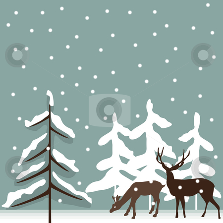 Deer stock photo, Background illustration with deer silhouettes in the winter by Richard Laschon