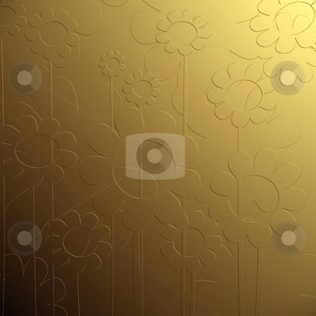 Bas relief floral  stock photo, Golden bas relief floral background by Richard Laschon