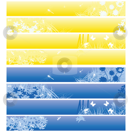 Web banners, headers stock photo, Nature theme banners, headers in blue and yellow over white by Richard Laschon