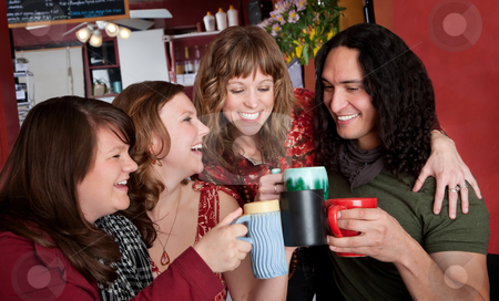 Toasting with Coffee Cups stock photo, Three cute girls flirting with a handsome Native American man at a cafe by Scott Griessel