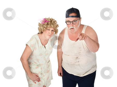 Suspicious Couple stock photo, Snickering older couple with dirty clothes on white background by Scott Griessel