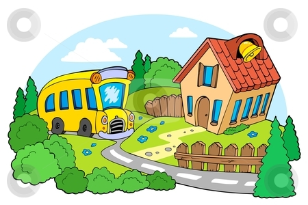 Landscape with school stock vector clipart, Landscape with school - vector illustration. by Klara Viskova