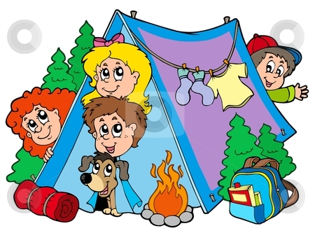 Group of camping kids stock vector clipart, Group of camping kids - vector illustration. by Klara Viskova