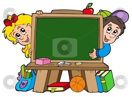 cutcaster-photo-100777270-School-chalkboard-with-two-kids