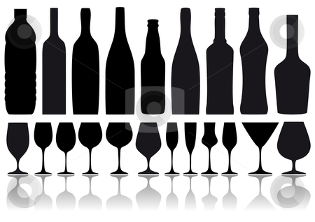 Bottles and glasses, vector stock vector clipart, Set of wine glass and bottle silhouettes, vector background by Beata Kraus