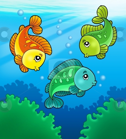 Three cute freshwater fishes stock photo, Three cute freshwater fishes - color illustration. by Klara Viskova