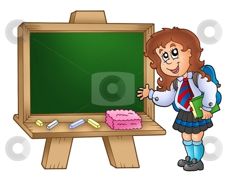 Cartoon girl with chalkboard stock photo, Cartoon girl with chalkboard - color illustration. by Klara Viskova