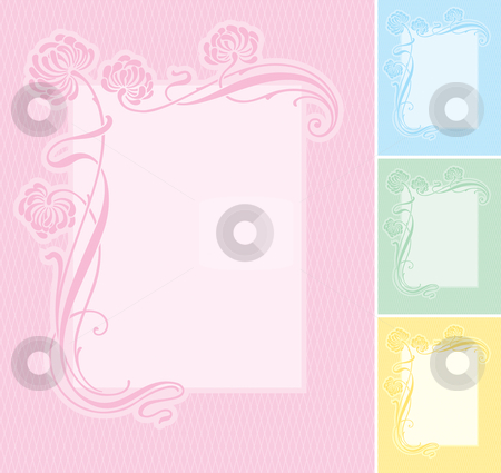 Label background (vector) stock vector clipart, Elegant floral label background. Editable and scalable vector illustration. Suitable for wedding invitations, greeting cards, baby-birth announcements, etc. More shape variations in my portfolio. by Mila Petkova