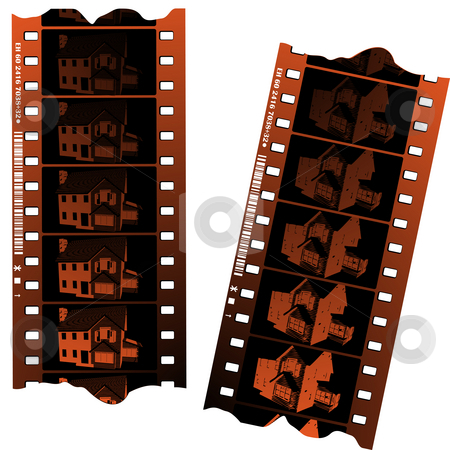 Negative fillm strips  stock photo, Negative fillm strips against white background by Richard Laschon