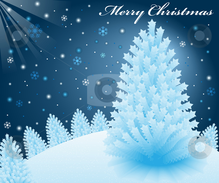Christmas snow scene stock vector clipart, Christmas snow scene at night with blue xmas fir trees on a snowy hill, snowflakes and rays in the background. by toots77