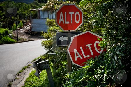 Alto signs in Santa Elena Costa Rica stock photo, Alto signs at intersection in Santa Elena Costa Rica by Scott Griessel