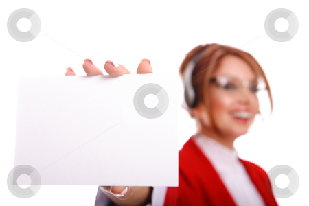 Greet card  stock photo, Attractive woman holding a greet card she is out of focus. by Gevorg Gevorgyan