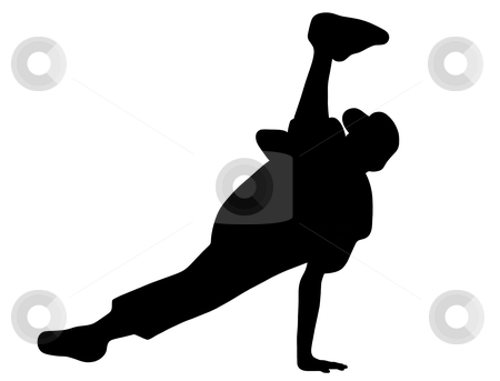 Hip hop dancer stock vector clipart, Silhouette of hip hop dancer over a white background by Ioana Martalogu