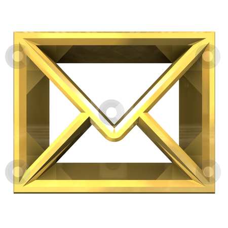 Envelope email symbol in gold (3d)  stock photo, Envelope email symbol in gold (3d made) by Fabrizio Zanier
