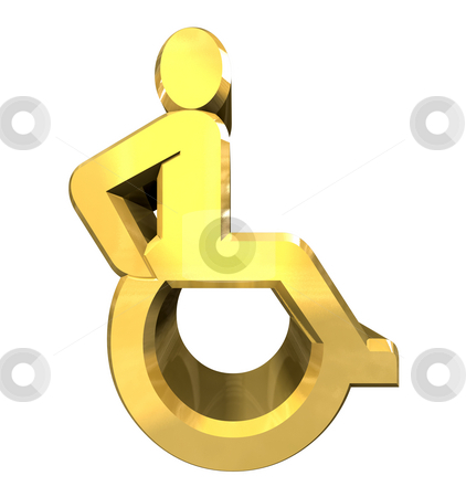 Universal wheelchair symbol in gold (3d)  stock photo, Universal wheelchair symbol in gold (3d made) by Fabrizio Zanier