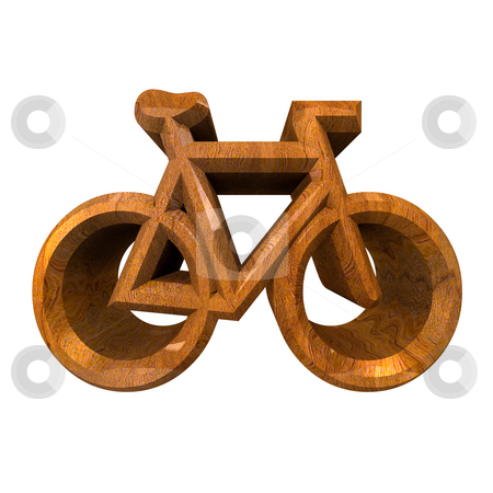 Bike symbol in wood (3d) stock photo, Bike symbol in wood (3d made) by Fabrizio Zanier