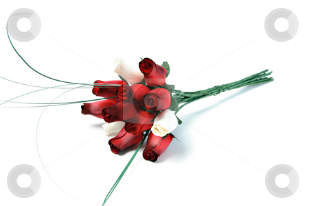 Wooden Rose Bouquet stock photo, A bouquet of a dozen roses that are made of wood, isolated on a white background. by Richard Nelson
