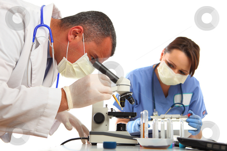Doctor and Nurse in Laboratory stock photo, Doctor and Nurse in Laboratory doing test, on sample, isolated on white by Gevorg Gevorgyan