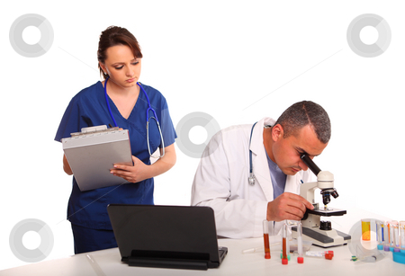 Male and Female Researchers in Laboratory stock photo, Doctor and Nurse in Laboratory doing test, on sample, isolated on white by Gevorg Gevorgyan