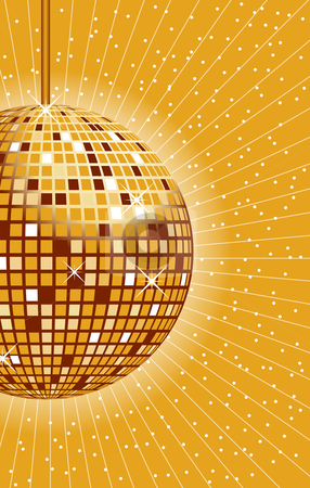 Disco ball gold stock vector clipart, Disco ball in gold with rays and sparkles in the background. by toots77