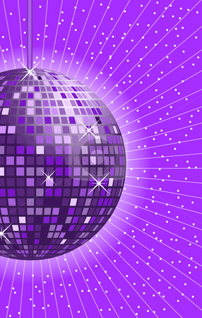 Disco ball purple stock vector clipart, Disco ball in shades of purple and lilac with rays in the background. by toots77