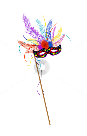 Mardi Grass mask stock photo, Mardi Grass mask with colored feathes by Richard Laschon