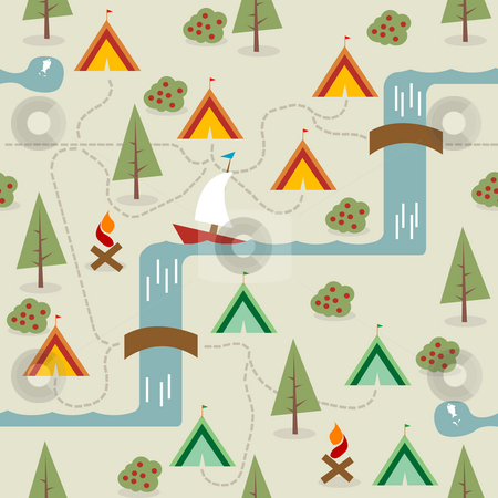 Camping site stock photo, Camping site map, seamless background by Richard Laschon